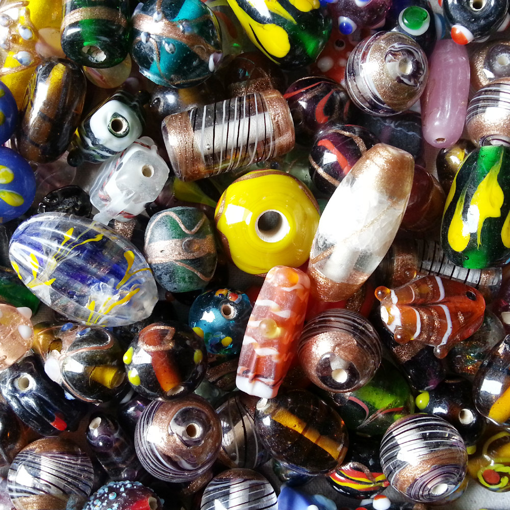 glass beads - lampwork fancy mix - 16005 x 1KG